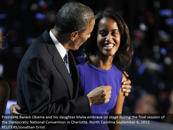 President Barack Obama and his little girl Malia grasp in front of an audience amid the last session of the Democratic National Convention in Charlotte, North Carolina September 6, 2012. REUTERS/Jonathan Ernst