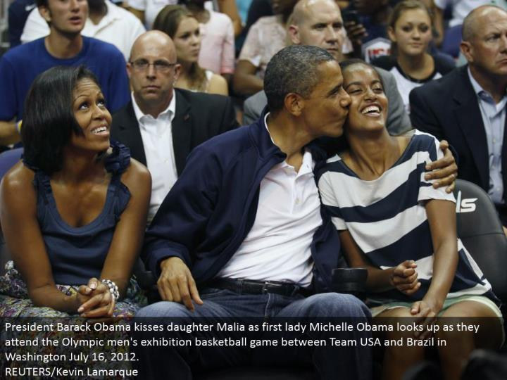 President Barack Obama kisses little girl Malia as first woman Michelle Obama turns upward as they go to the Olympic men's show b-ball game between Team USA and Brazil in Washington July 16, 2012.  REUTERS/Kevin Lamarque