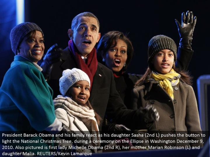 President Barack Obama and his family respond as his little girl Sasha (second L) pushes the catch to light the National Christmas Tree, amid a function on the Ellipse in Washington December 9, 2010. Additionally imagined is first woman Michelle Obama (second R), her mom Marian Robinson (L) and girl Malia. REUTERS/Kevin Lamarque