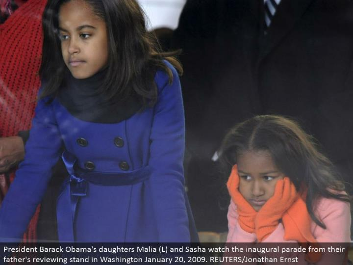 President Barack Obama's girls Malia (L) and Sasha watch the inaugural parade from their dad's investigating stand in Washington January 20, 2009. REUTERS/Jonathan Ernst
