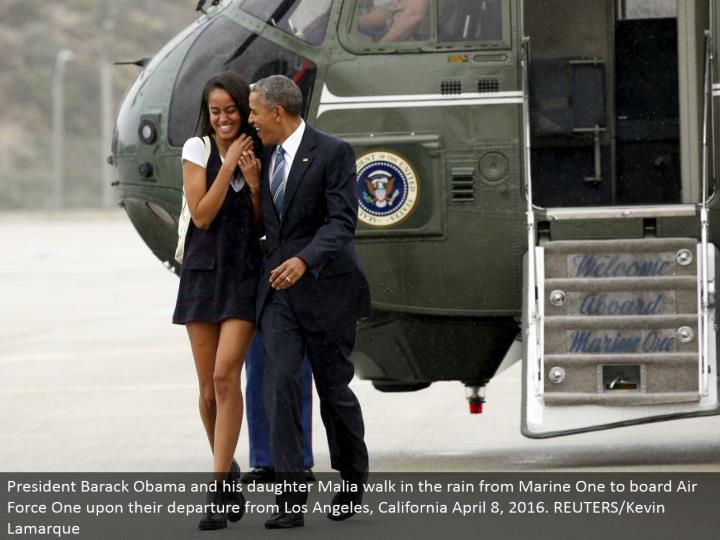 President Barack Obama and his little girl Malia stroll in the downpour from Marine One to board Air...