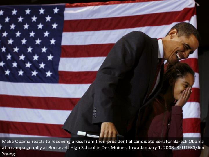 Malia Obama responds to getting a kiss from that point presidential hopeful Senator Barack Obama at a crusade rally at Roosevelt High School in Des Moines, Iowa January 1, 2008. REUTERS/Jim Young