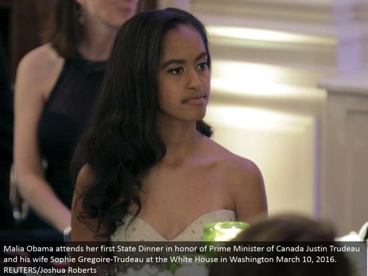 Malia Obama goes to her first State Dinner to pay tribute to Prime Minister of Canada Justin Trudeau and his better half Sophie Gregoire-Trudeau at the White House in Washington March 10, 2016. REUTERS/Joshua Roberts