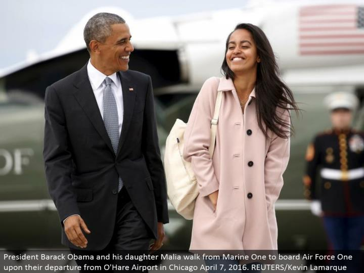 President Barack Obama and his girl Malia stroll from Marine One to board Air Force One upon their takeoff from O'Hare Airport in Chicago April 7, 2016. REUTERS/Kevin Lamarque