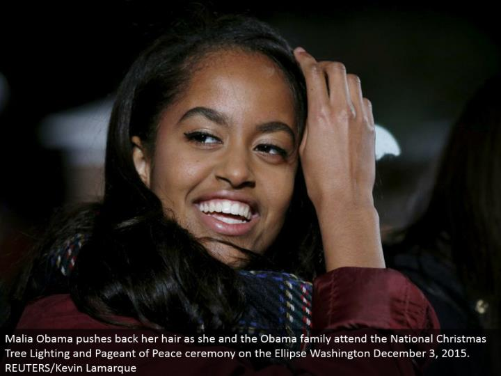 Malia Obama pushes back her hair as she and the Obama family go to the National Christmas Tree Lighting and Pageant of Peace function on the Ellipse Washington December 3, 2015. REUTERS/Kevin Lamarque