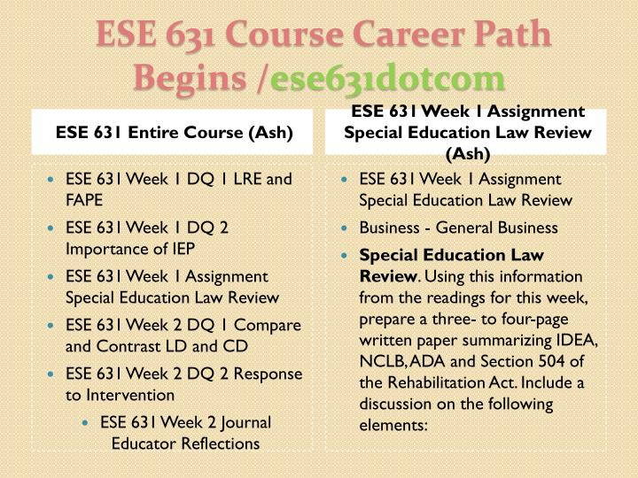 Ese 631 course career path begins ese631dotcom1