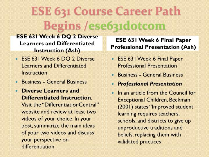 ESE 631 Week 6 DQ 2 Diverse Learners and Differentiated Instruction (Ash)