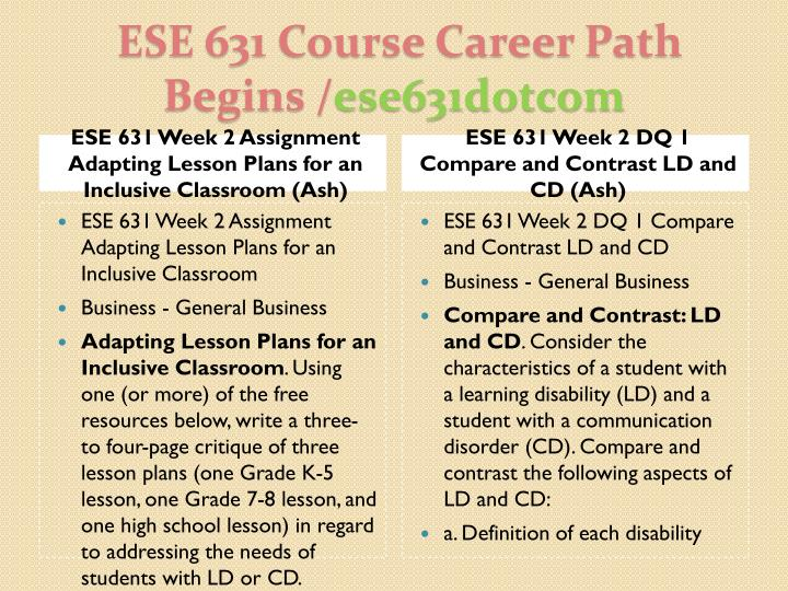 ESE 631 Week 2 Assignment Adapting Lesson Plans for an Inclusive Classroom (Ash)