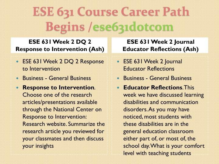 ESE 631 Week 2 DQ 2 Response to Intervention (Ash)