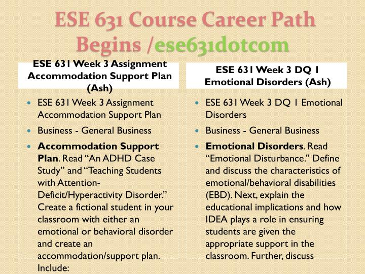 ESE 631 Week 3 Assignment Accommodation Support Plan (Ash)