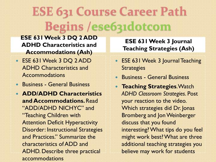 ESE 631 Week 3 DQ 2 ADD ADHD Characteristics and Accommodations (Ash)