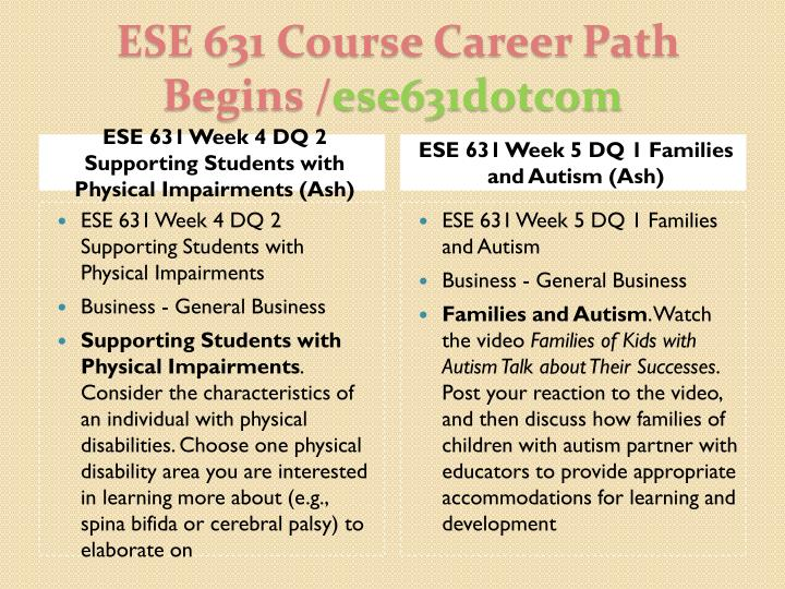 ESE 631 Week 4 DQ 2 Supporting Students with Physical Impairments (Ash)