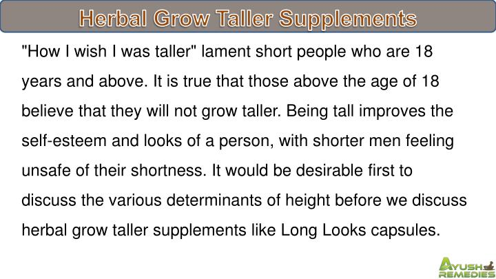 Herbal Grow Taller Supplements