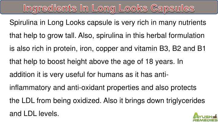 Ingredients In Long Looks Capsules