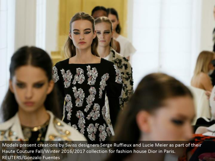 Models present manifestations by Swiss creators Serge Ruffieux and Lucie Meier as a major aspect of their Haute Couture Fall/Winter 2016/2017 accumulation for design house Dior in Paris. REUTERS/Gonzalo Fuentes