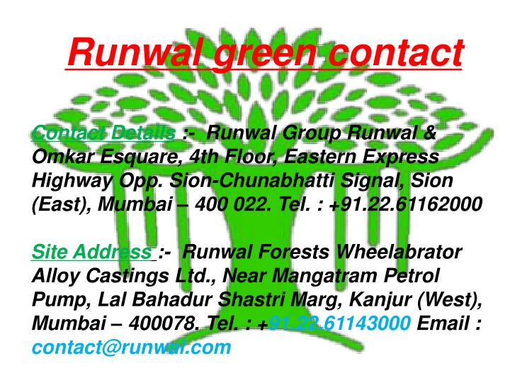 Runwal green contact
