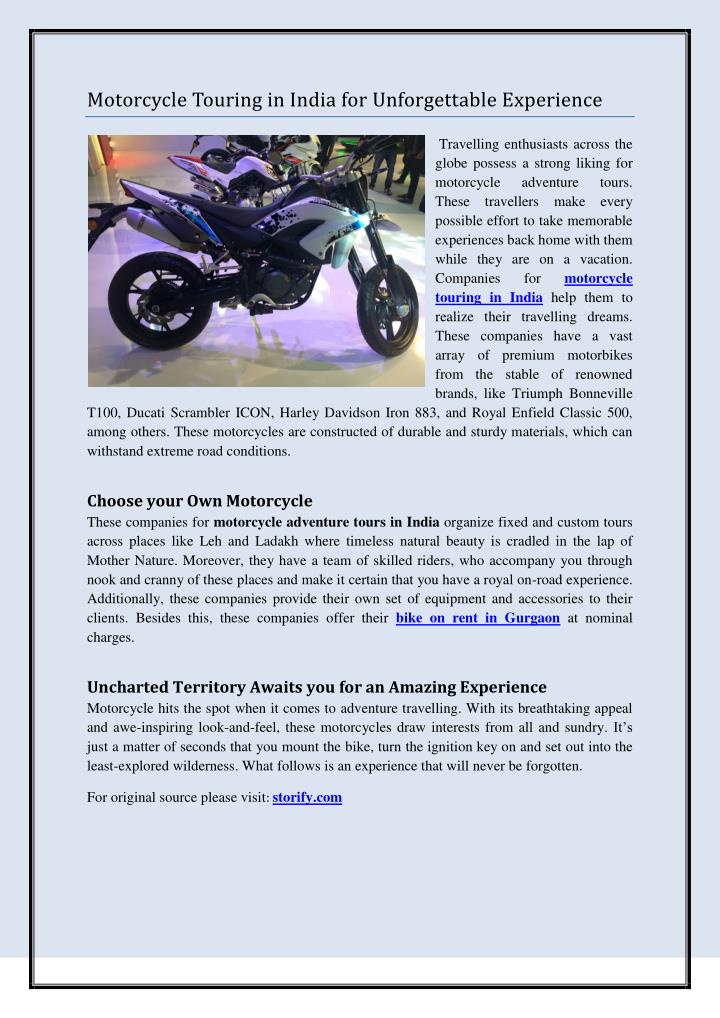 Motorcycle Touring in India for Unforgettable Experience