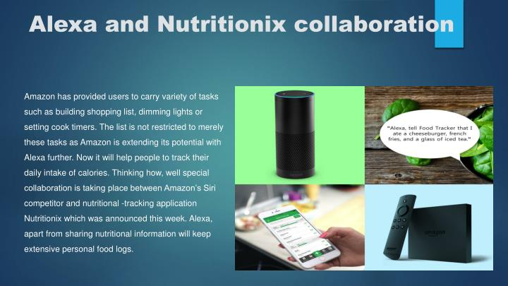 Alexa and nutritionix collaboration
