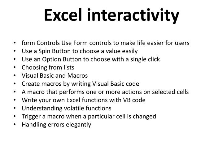 Excel interactivity