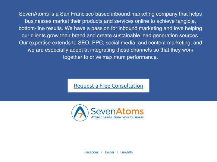 SevenAtoms is a San Francisco based inbound marketing company that helps