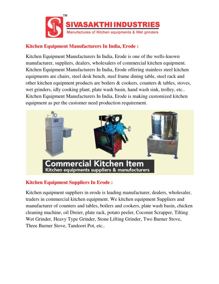 Kitchen Equipment Manufacturers In India, Erode :