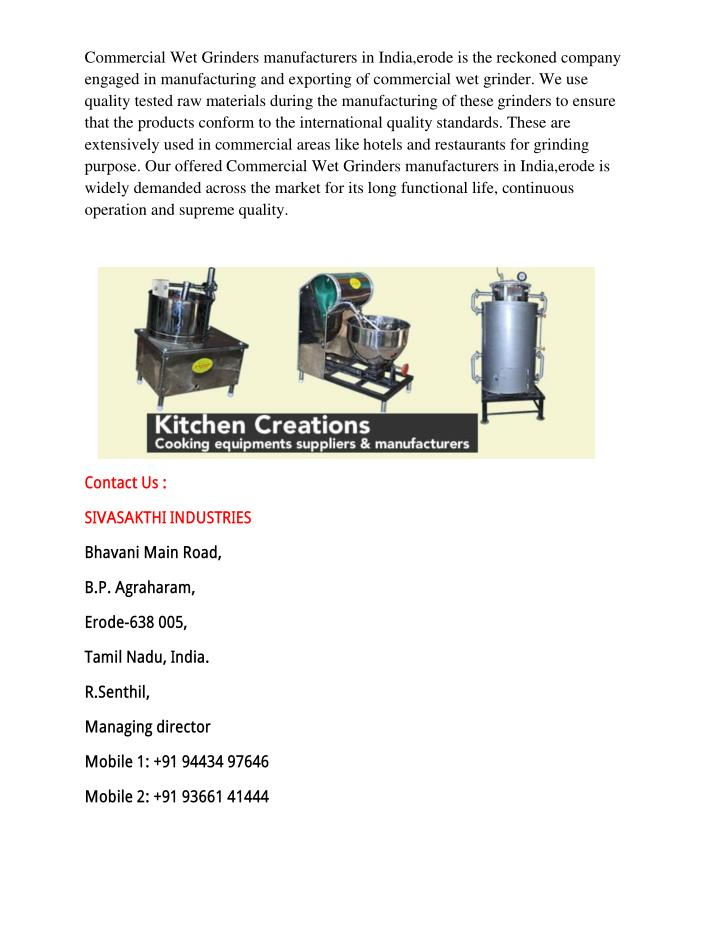 Commercial Wet Grinders manufacturers in India,erode is the reckoned company
