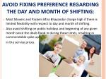 avoid fixing preference regarding the day and month of shifting