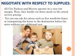 negotiate with respect to supplies