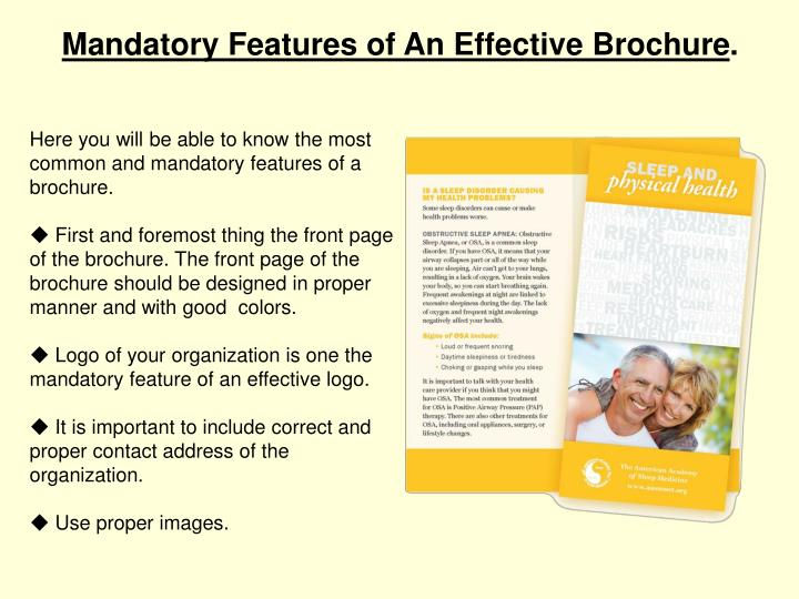 Mandatory Features of An Effective Brochure