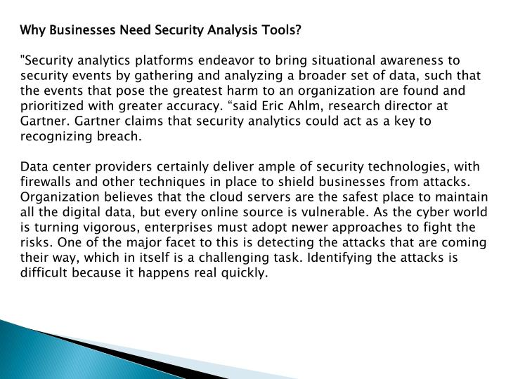 Why Businesses Need Security Analysis Tools?