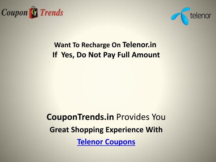 Want to recharge on telenor in if yes do not pay full amount