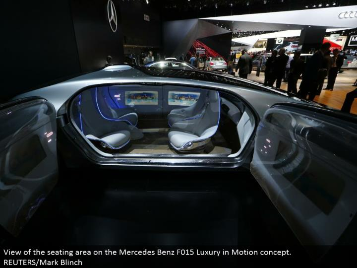 View of the seating zone on the Mercedes Benz F015 Luxury in Motion idea. REUTERS/Mark Blinch