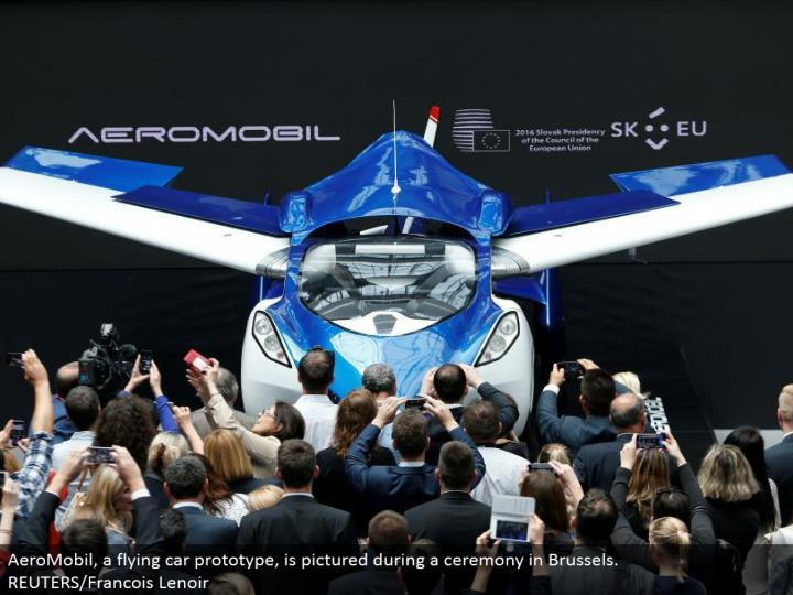 AeroMobil, a flying auto model, is imagined amid a service in Brussels. REUTERS/Francois Lenoir