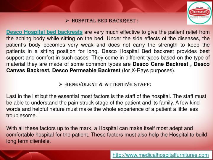 Hospital Bed backrest :