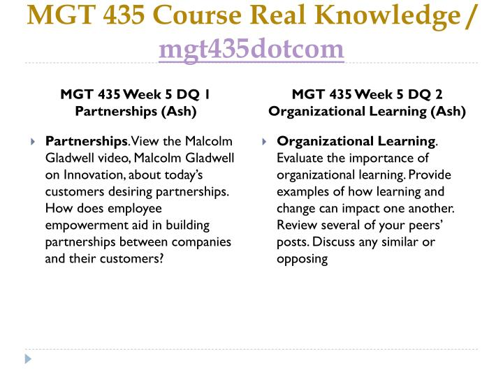 MGT 435 Course Real Knowledge /