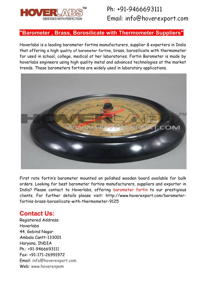 """""""Barometer , Brass, Borosilicate with Thermometer Suppliers"""""""