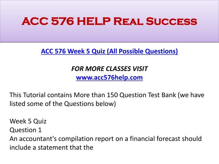 ACC 576 HELP Real Success