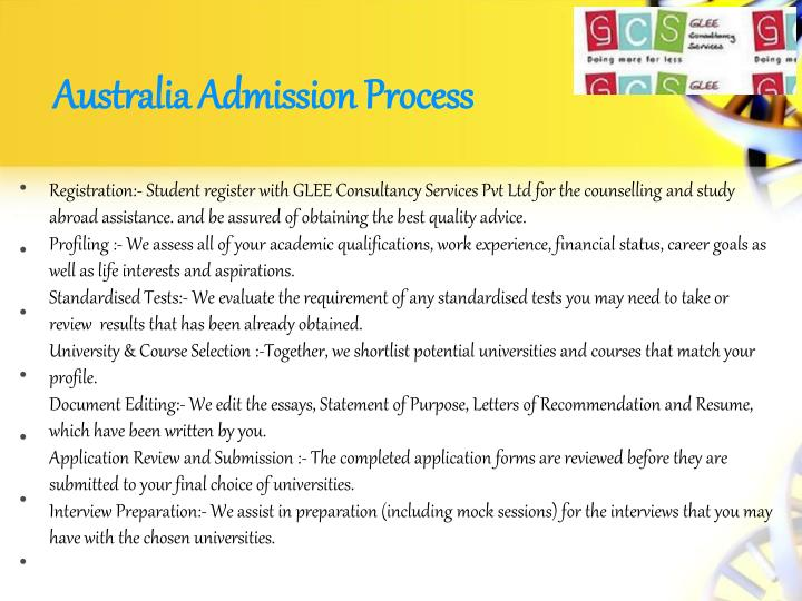 Australia Admission Process