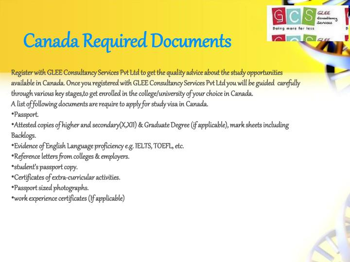 Canada Required Documents