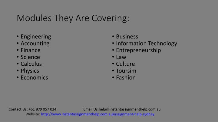 Modules They Are Covering: