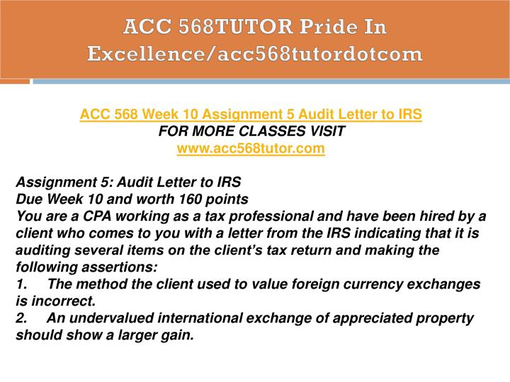 ACC 568TUTOR Pride In Excellence/acc568tutordotcom