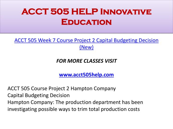 ACCT 505 HELP Innovative Education