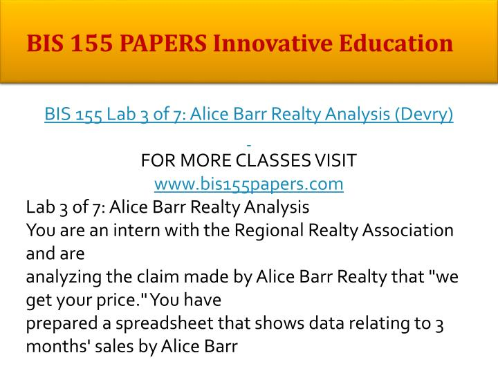 BIS 155 PAPERS Innovative Education
