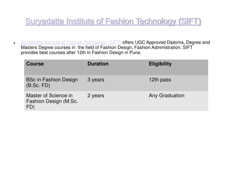 Suryadatta institute of fashion technology sift
