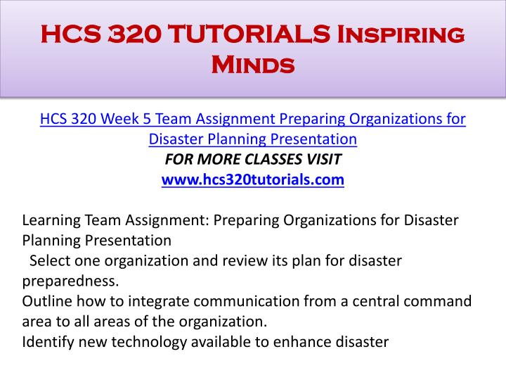 HCS 320 TUTORIALS Inspiring Minds