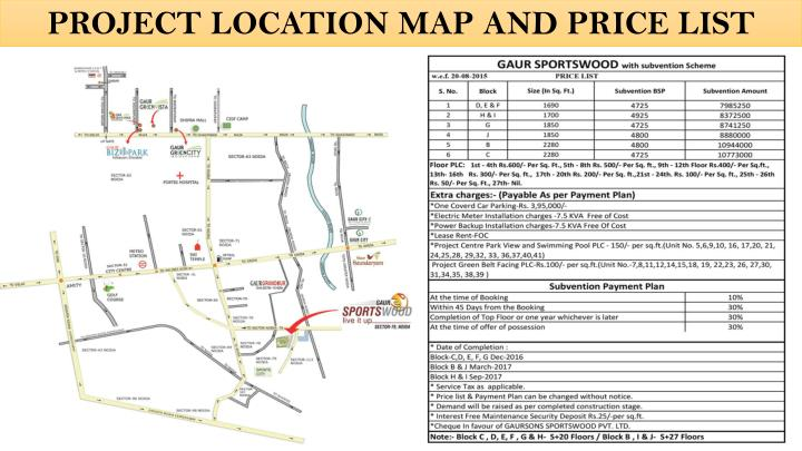 PROJECT LOCATION MAP AND PRICE LIST