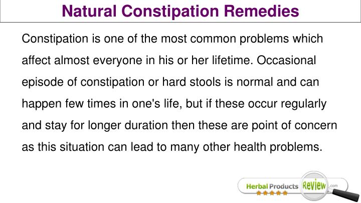 Natural Constipation Remedies