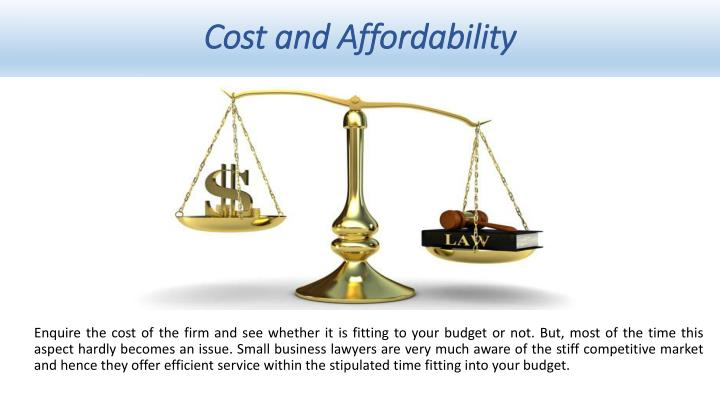 Cost and Affordability