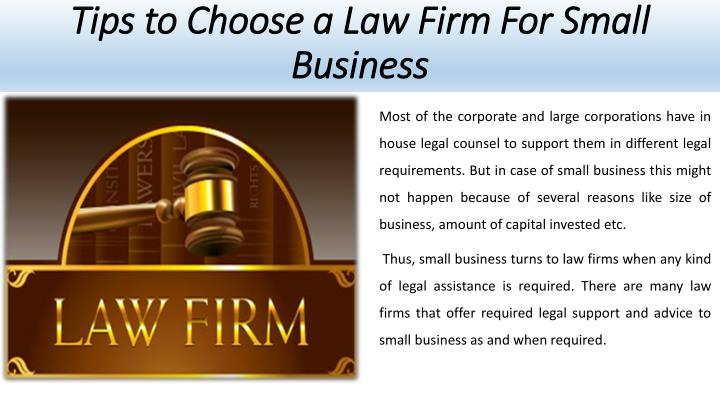 Tips to choose a law firm for small business