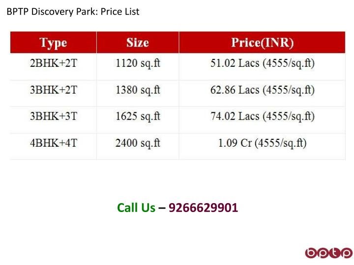 BPTP Discovery Park: Price List